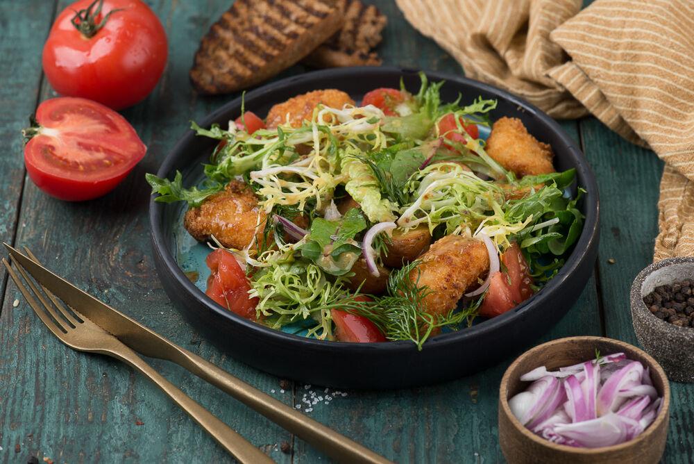 Salad with cod