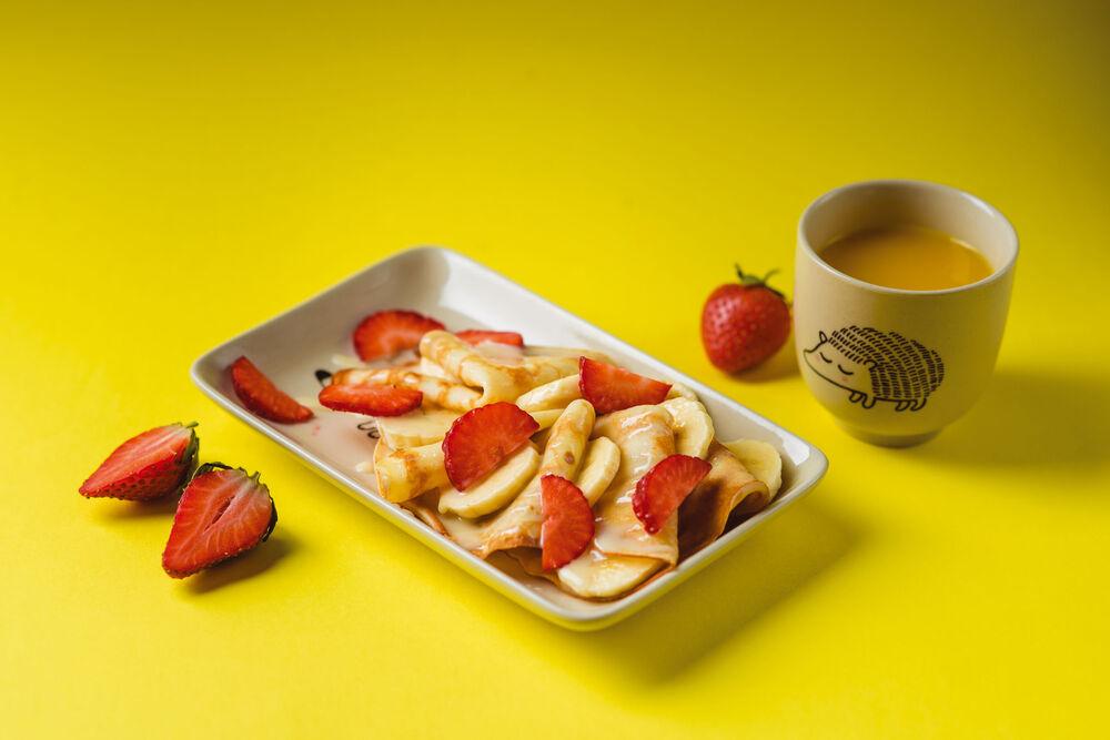 Pancake with banana and condensed milk