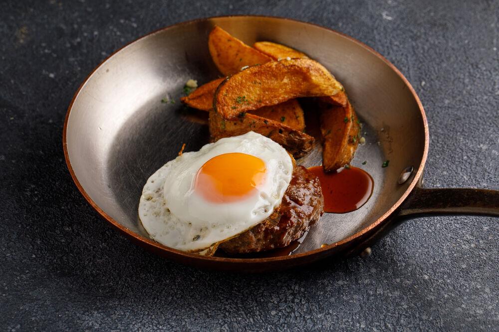 Beef steak with baked potatoes Idaho