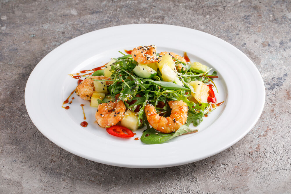 Salad with shrimps and pineapple
