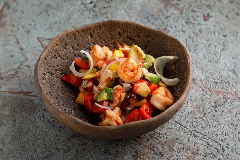 Mediterranean salad with crab