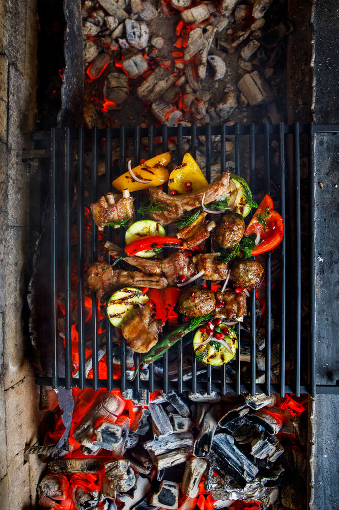 Charcoal grilled assorted mutton