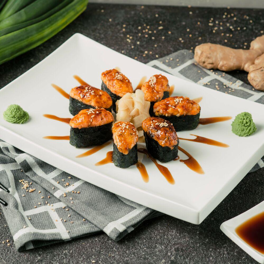 Baked sushi salmon