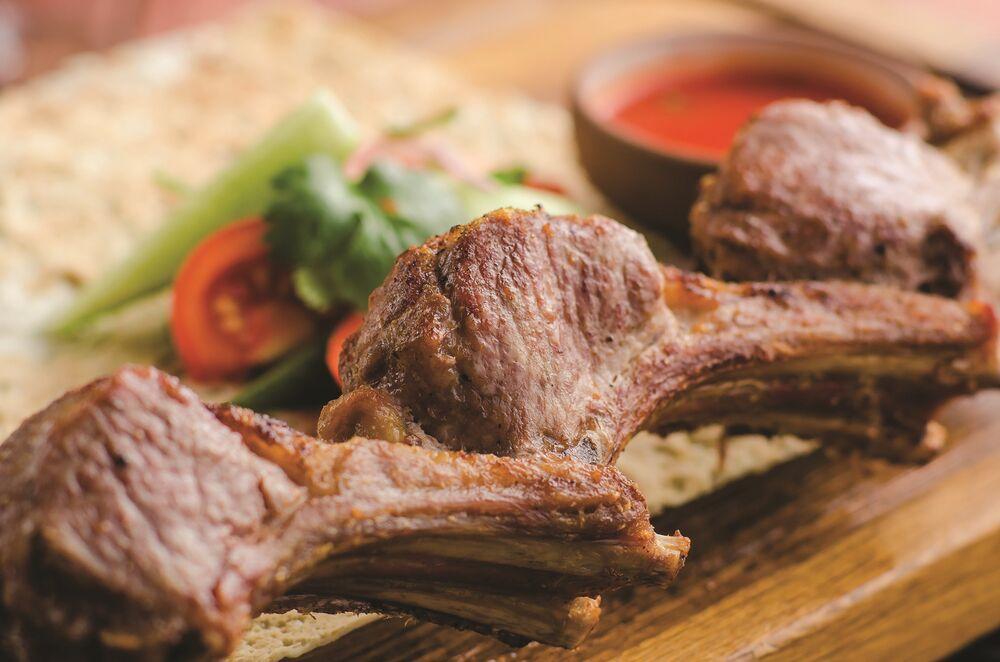 Rack of lamb shish-kebab