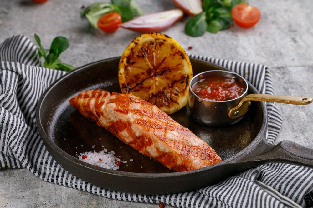 Charcoal grilled salmon