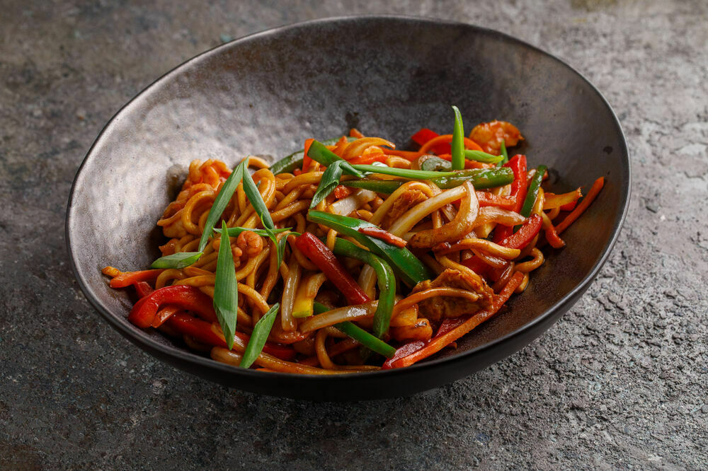 Chao-Mein noodles with shrimps