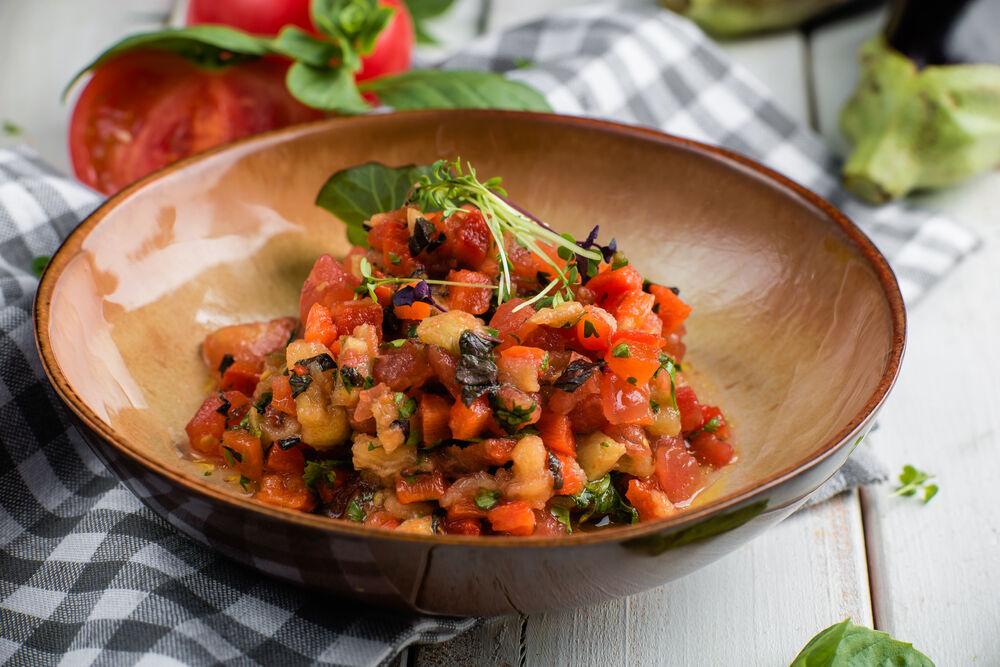 Salad of roasted grilled vegetables