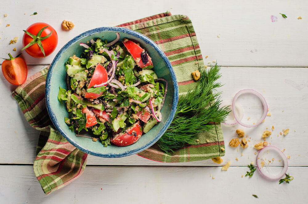 Georgian style vegetable salad with nuts