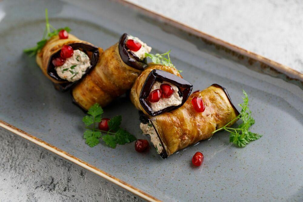 Georgian style eggplant rolls