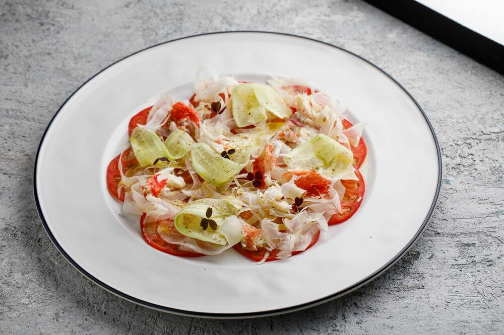 Celery, fennel and crab carpaccio