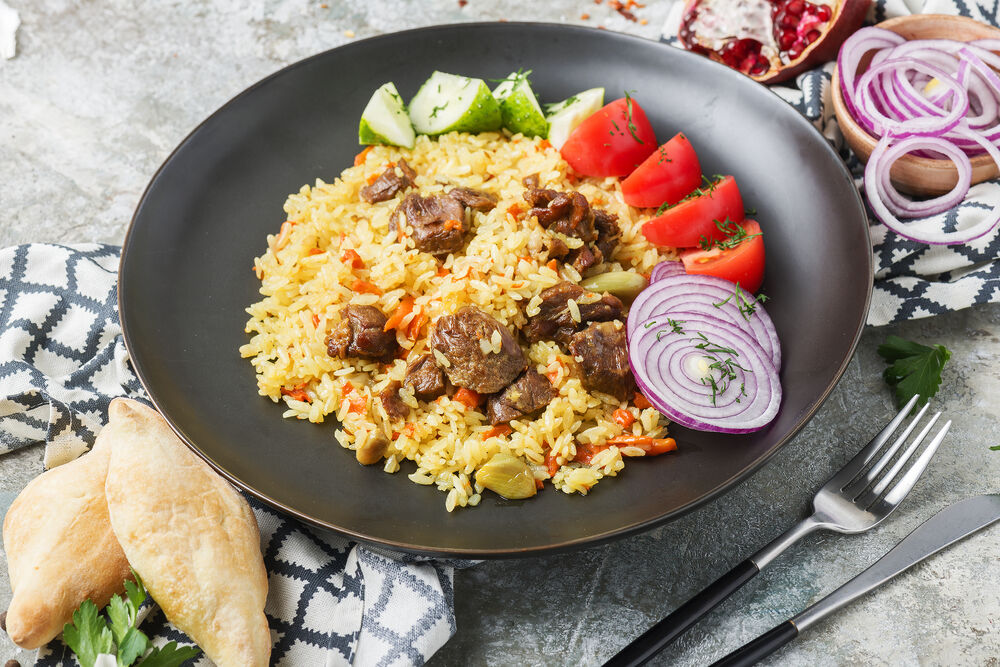 Pilaf with lamb and vegetables