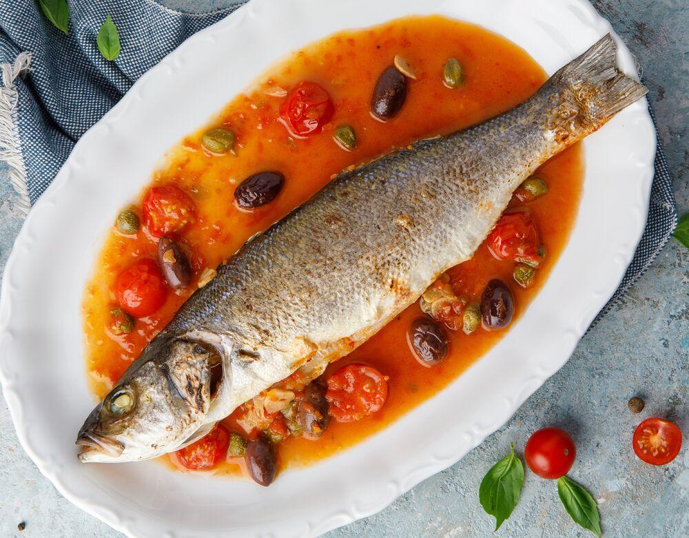 Mediterranean style sea bass