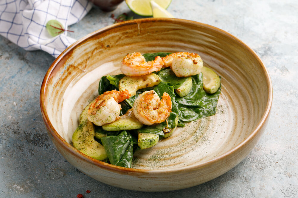 Vegetable marrow and shrimps salad