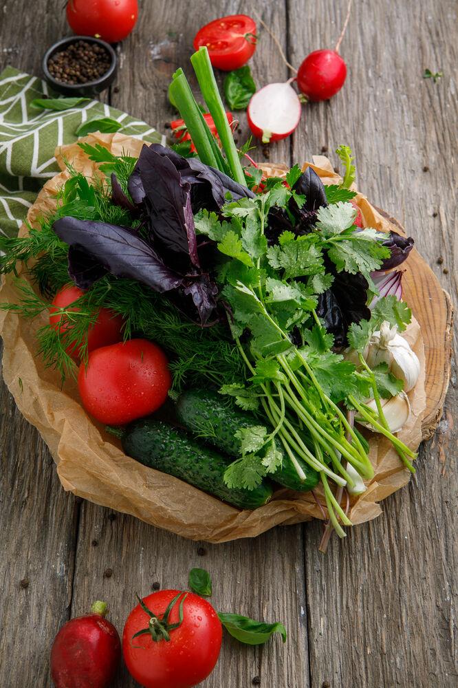 Seasonal vegetables with garden herbs