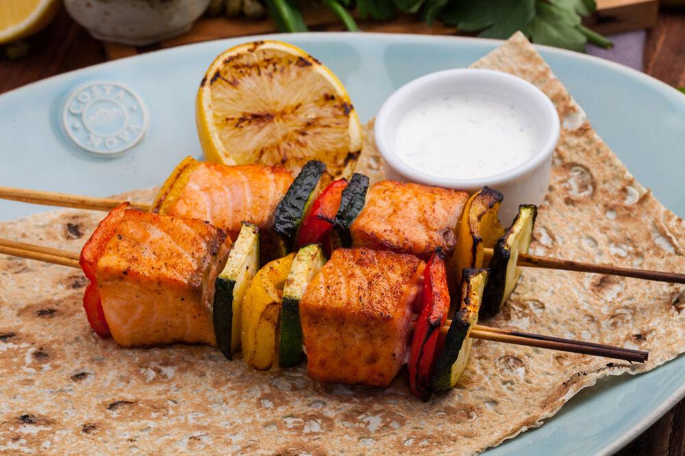 Salmon shish kebab