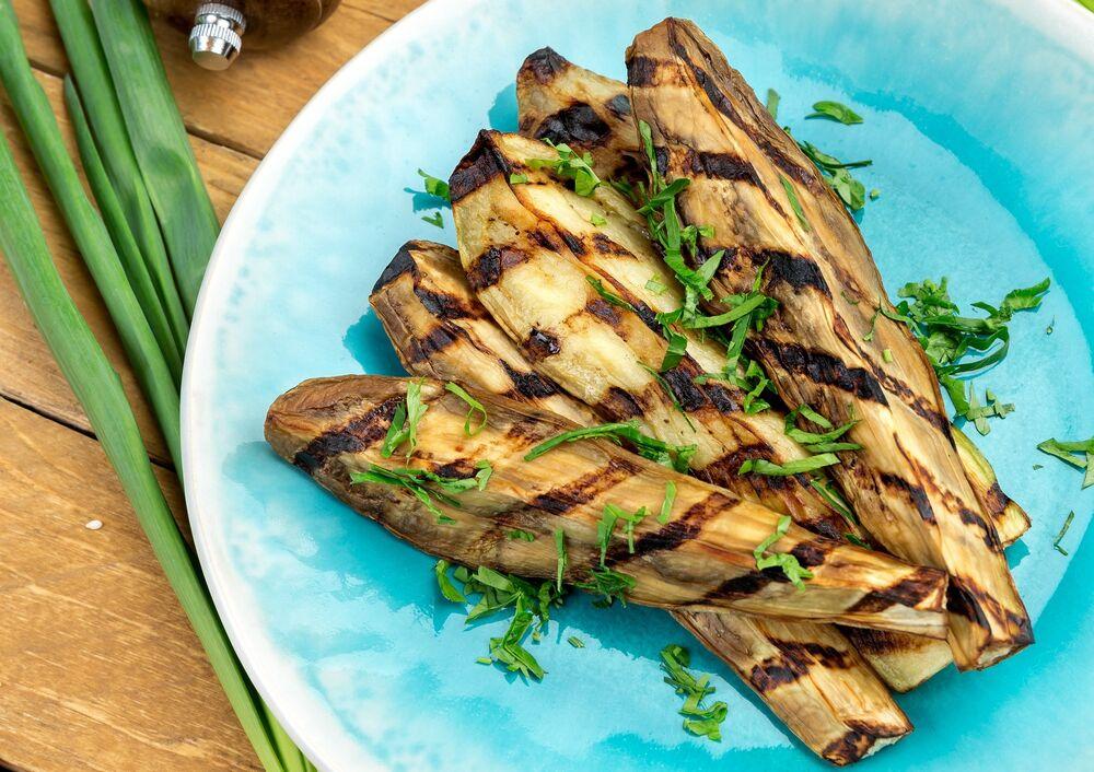 Charcoal grilled eggplant
