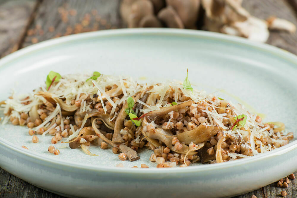 Buckwheat with cheese and mushrooms