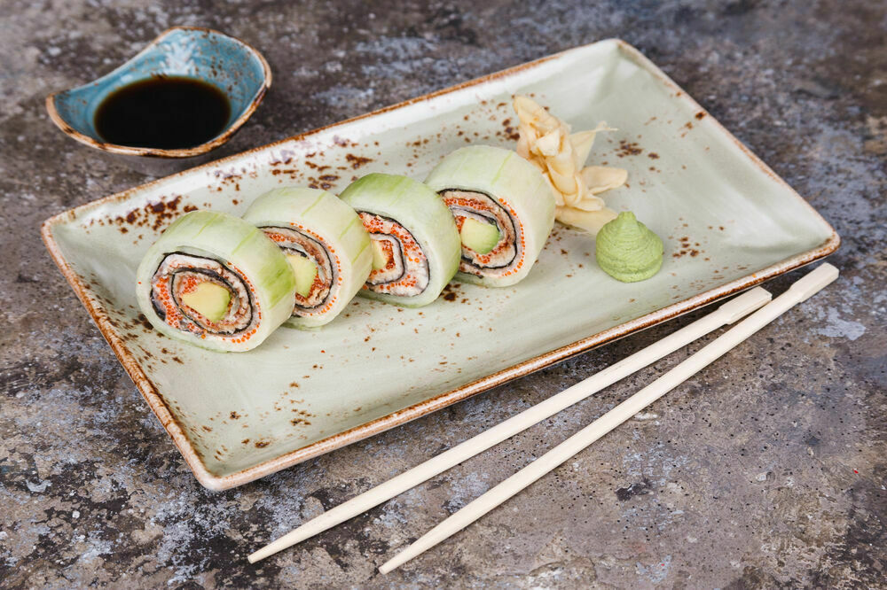 Fresh roll in cucumber with eel