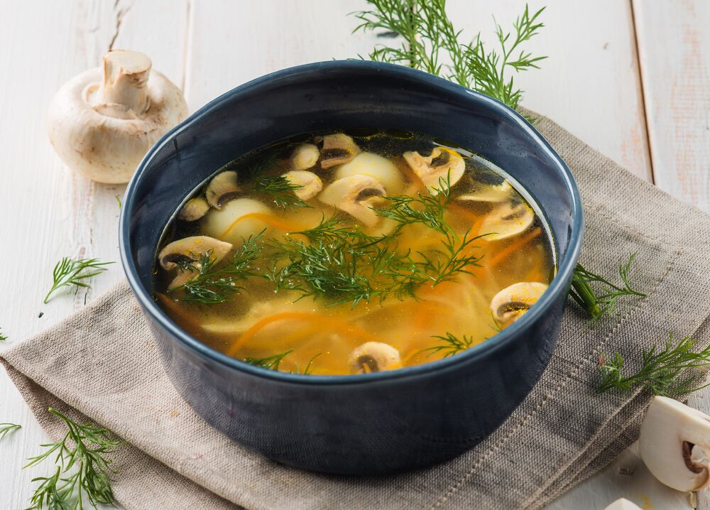Home style noodle soup with mushrooms