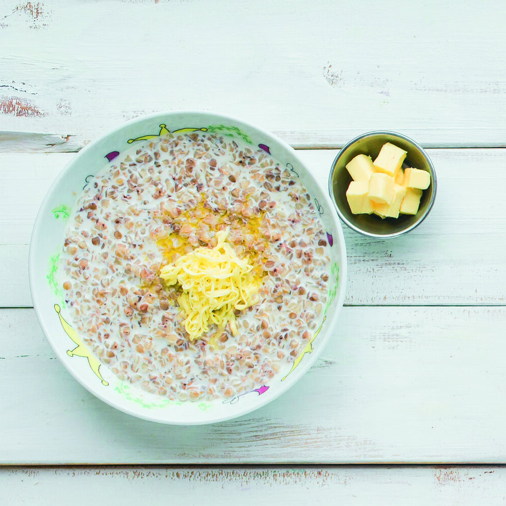 Buckwheat porridge with butter and milk (on your choice)