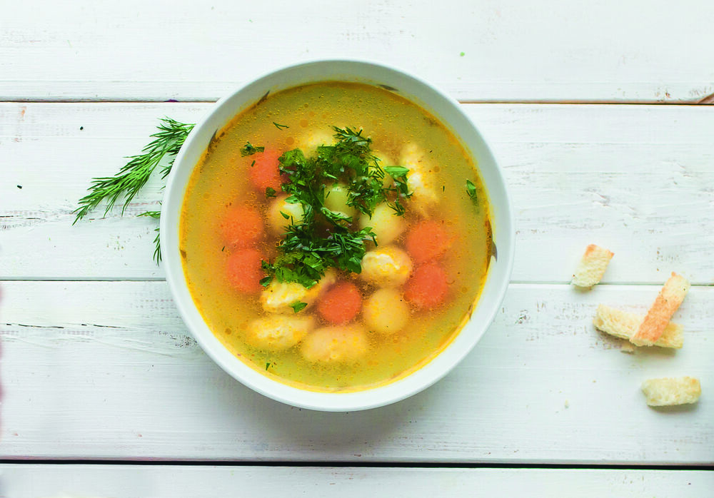 Turkey soup with quenelles