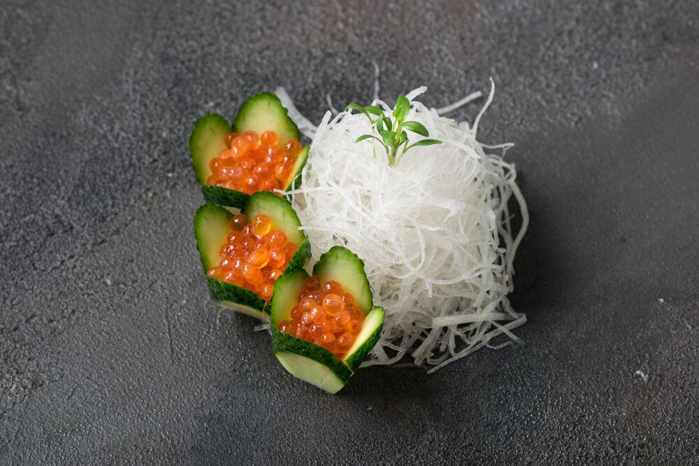 Red caviar sashimi