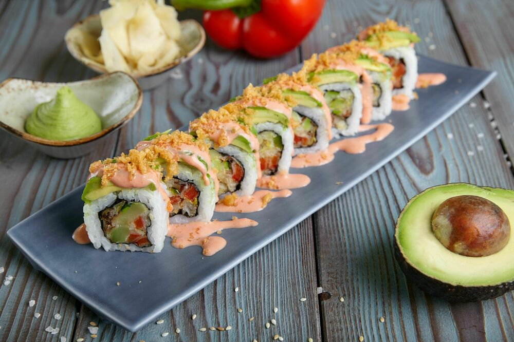 Roll with tempura vegetables with mousse