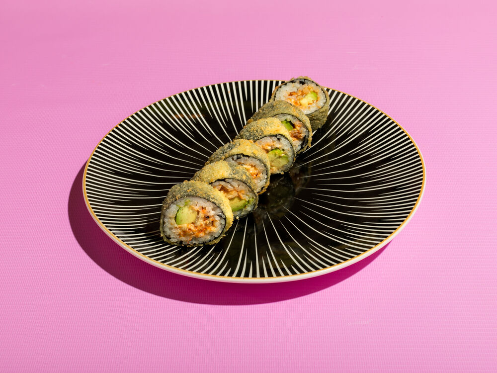 Tempura roll with spicy eel and avocado
