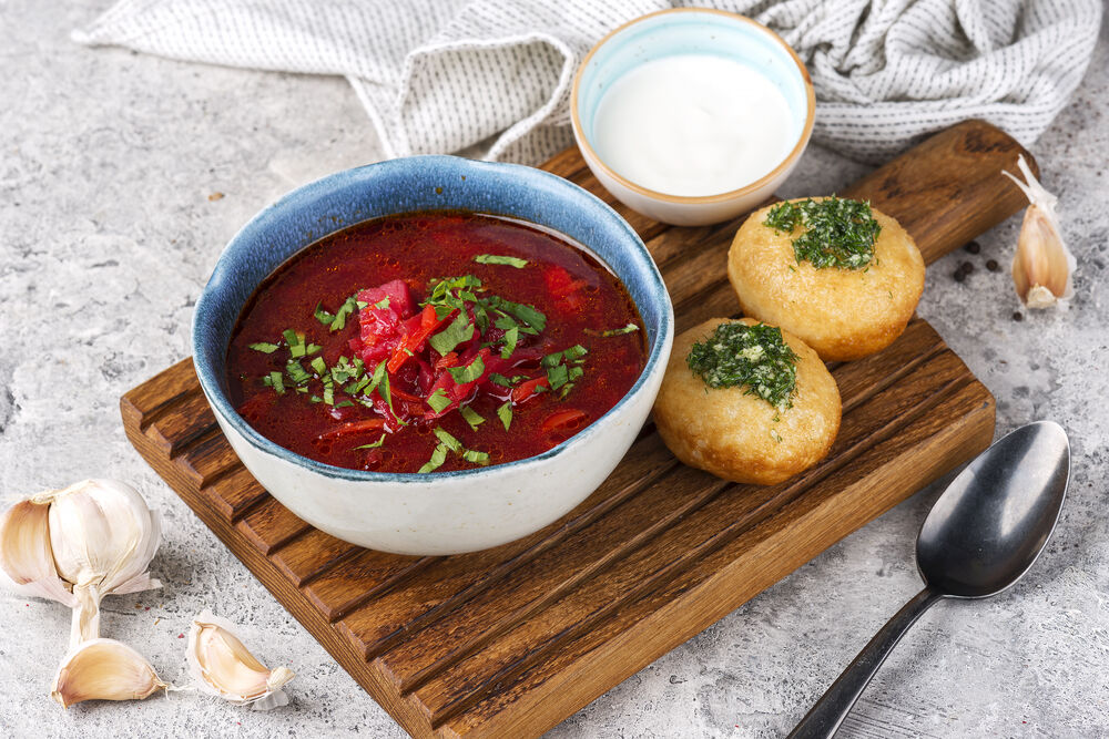 Borscht with donuts