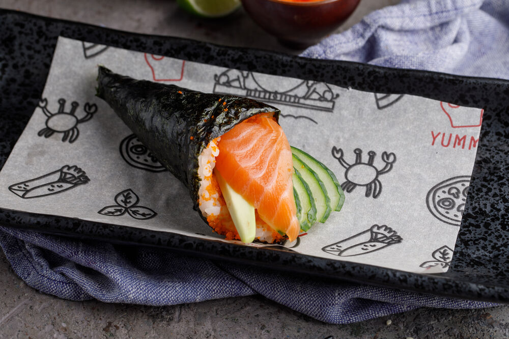 """Hand roll """"California"""" with salmon"""