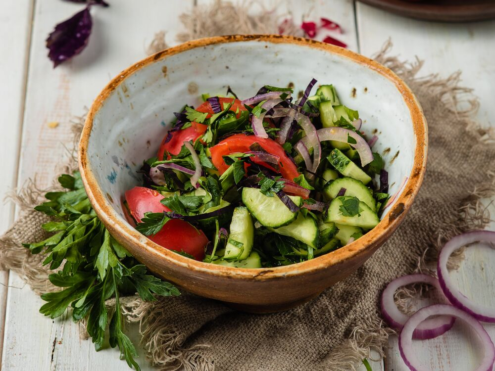 Georgian style vegetable salad with spices
