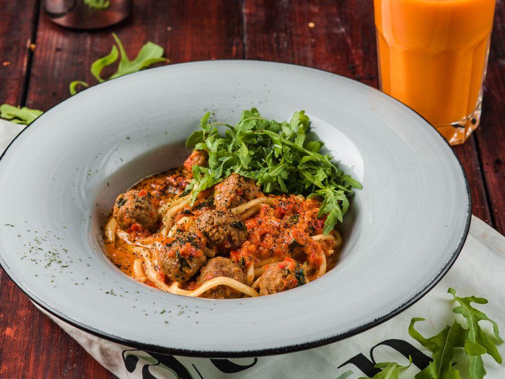Homemade pasta with lamb