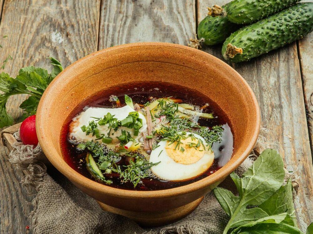 Okroshka cold soup with kvass