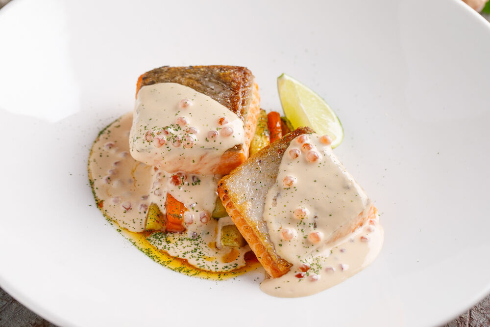 Trout fillet with baked milk sauce