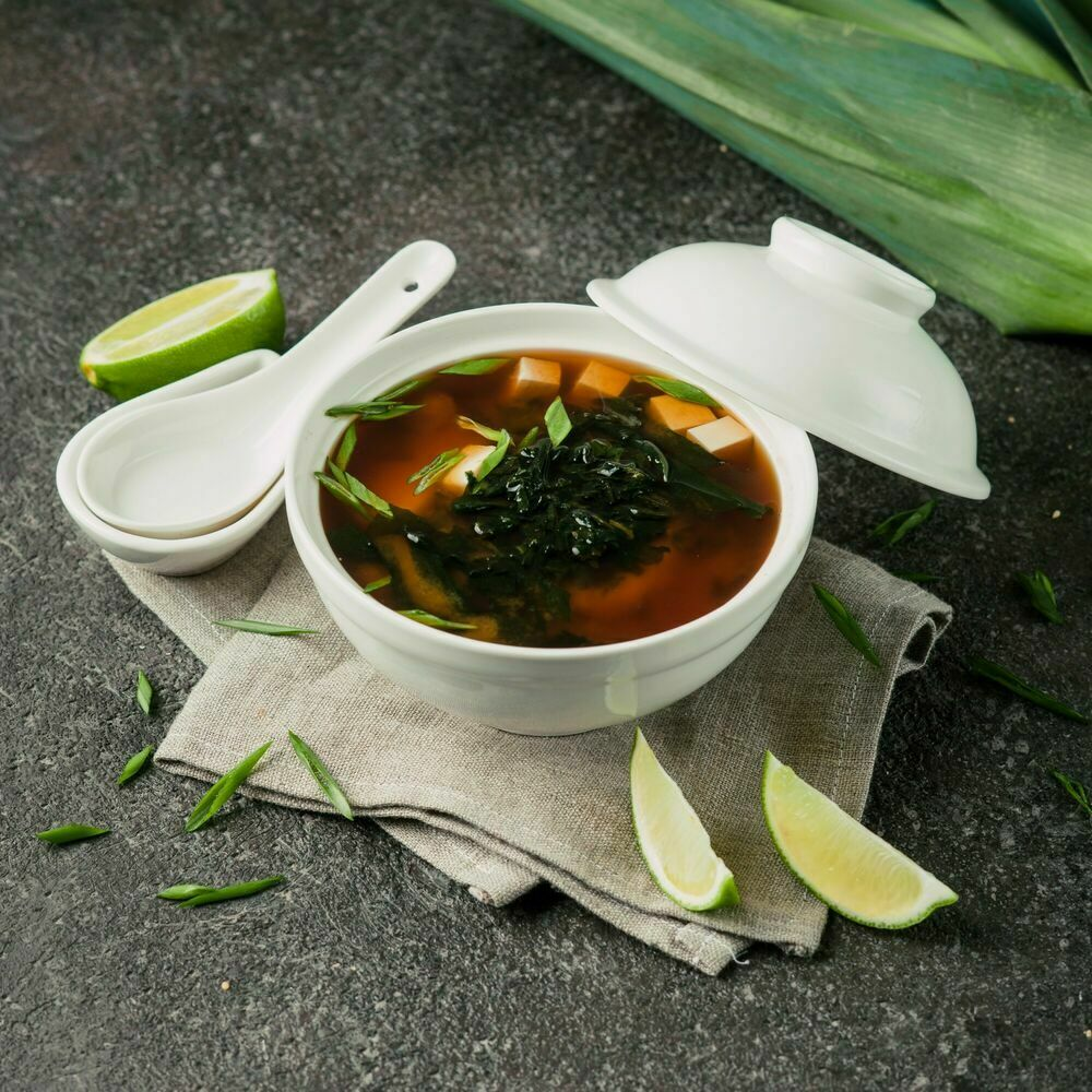 Miso soup with salmon