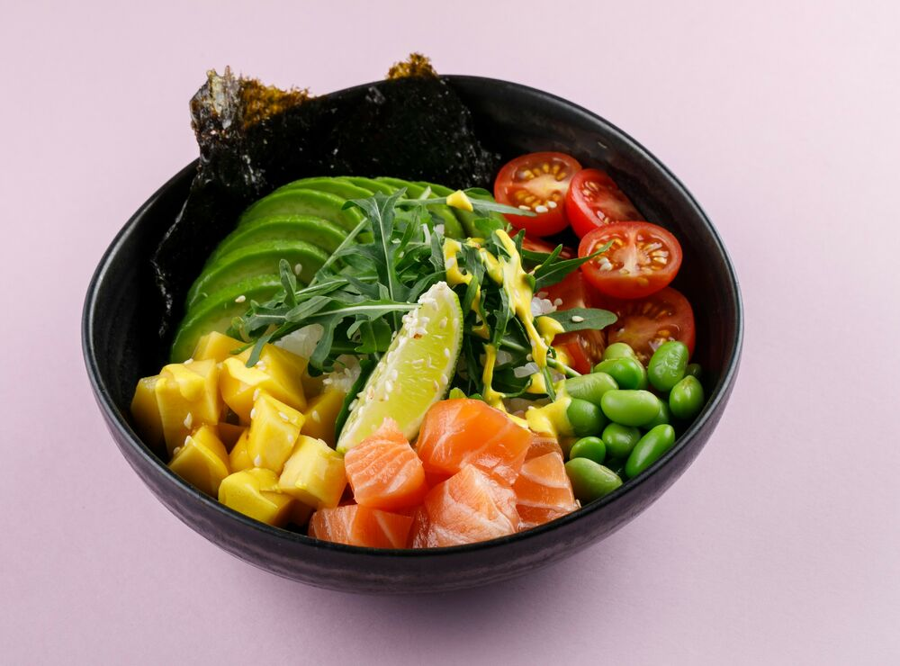 Poke with salmon and man