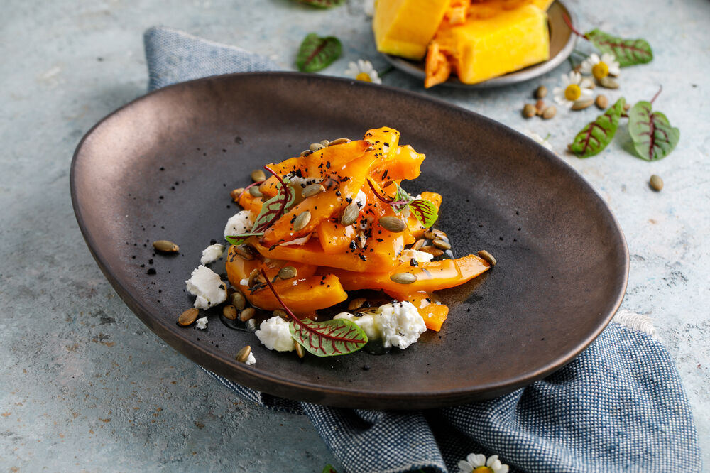 Baked pumpkin with goat cheese