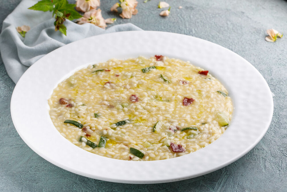 Risotto with smoked beef, zucchini and truffle oil