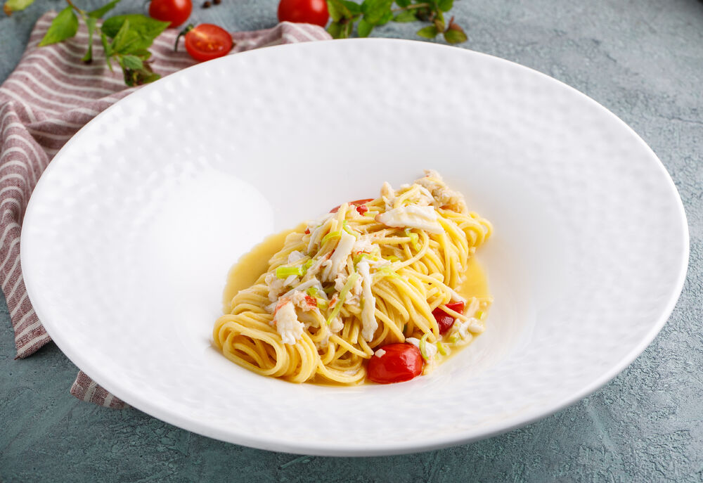 Homemade pasta with crab
