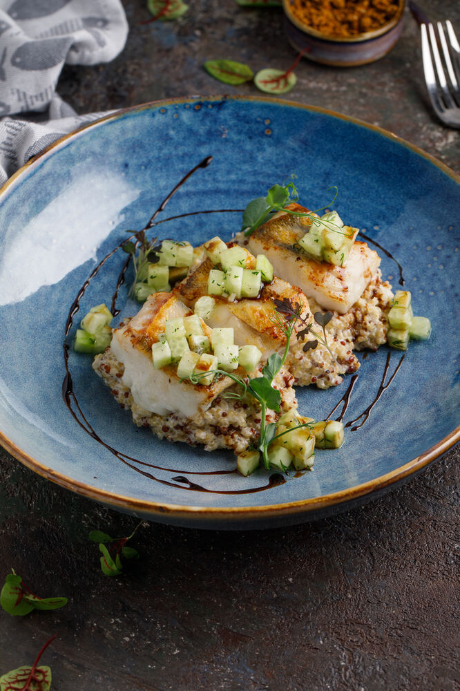Pike perch with smoked quinoa