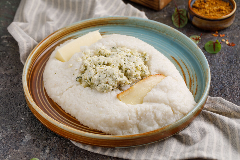 Hominy with three types of cheese
