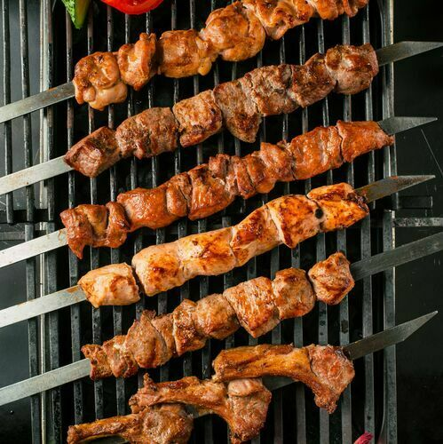 Beef shashlik with fat tail