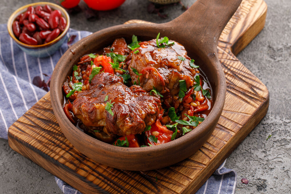 Oxtail with wheat and saperavi sauce
