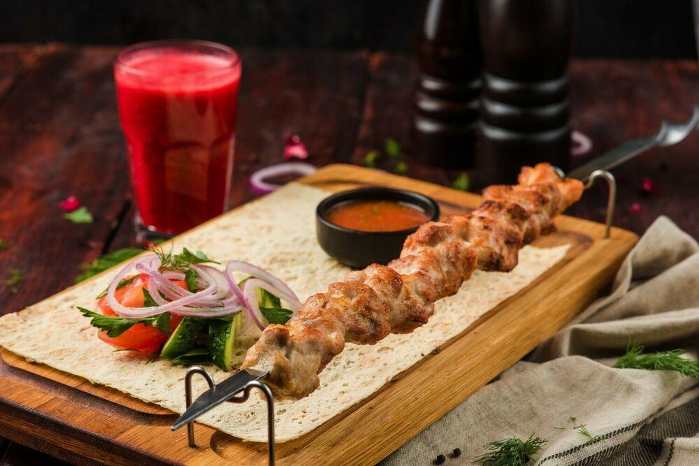 Shish-kebab of chicken leg quarter