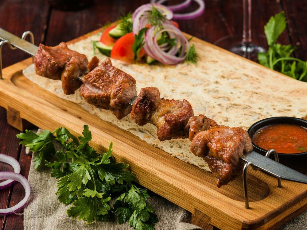 Shish-kebab of pork