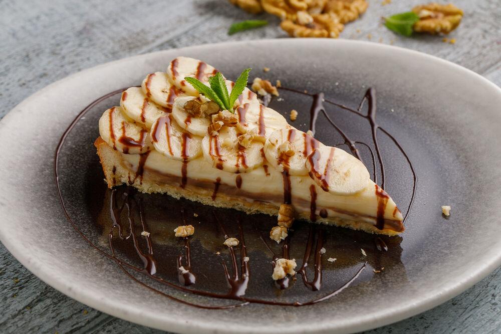 Banana cake with chocolate cream