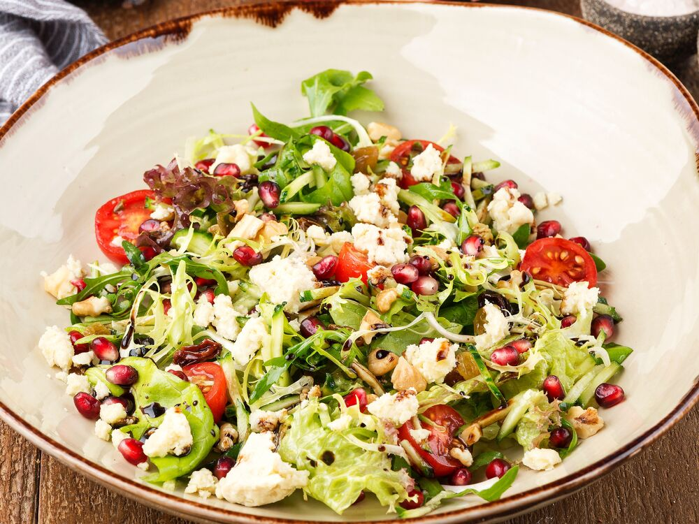 Salad with guda sheep cheese