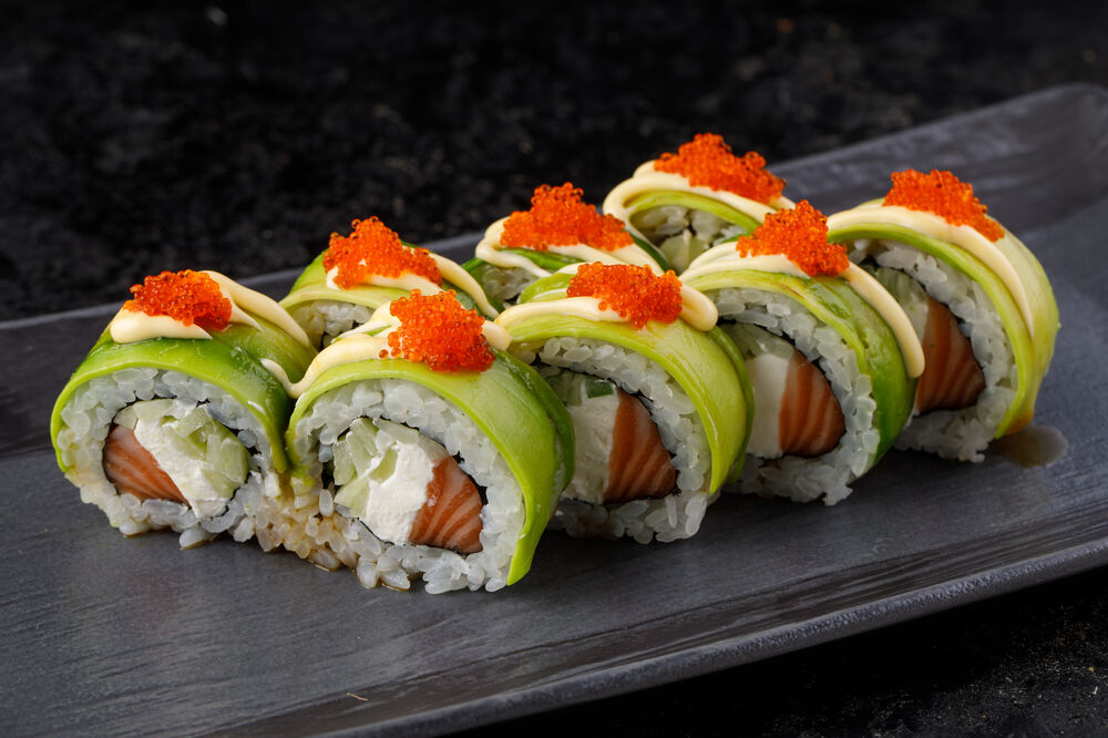Roll with avocado and masago