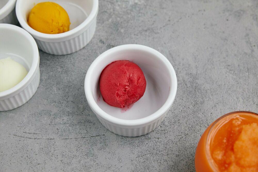Raspberry and strawberry sorbet
