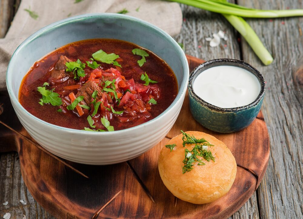 Moscow style beet soup